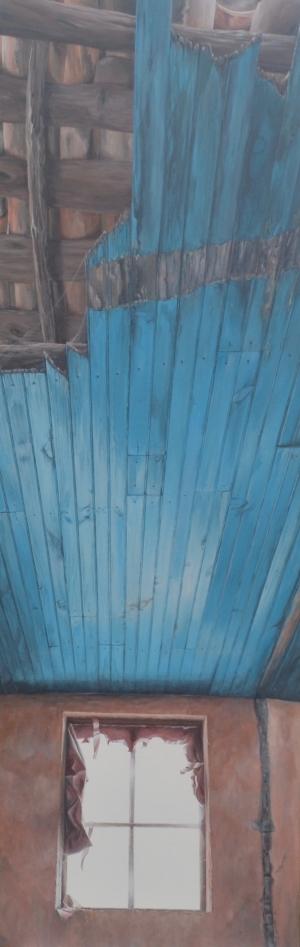 Ventana con techo azul